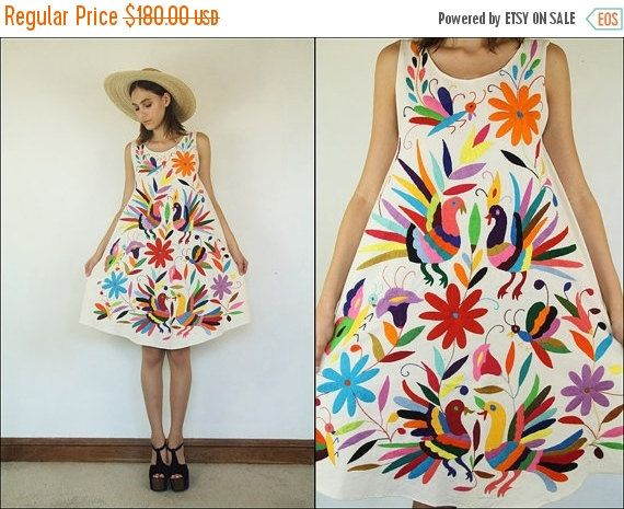 ON SALE Mexican Tenango Otomi Floral Birds by Powdervtg on Etsy