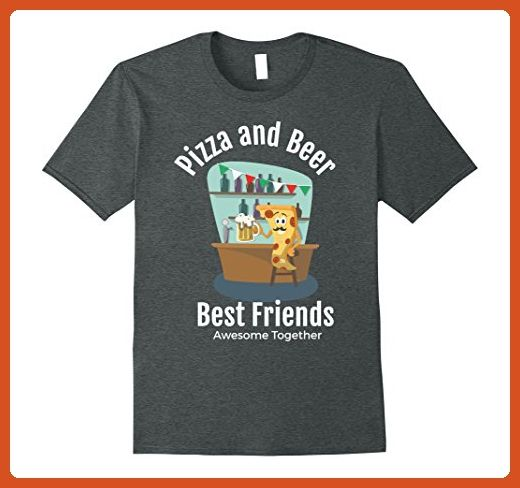 Mens Pizza Beer Best Friends Awesome Together Cartoon Food Tee XL Dark Heather - Food and drink shirts (*Partner-Link)