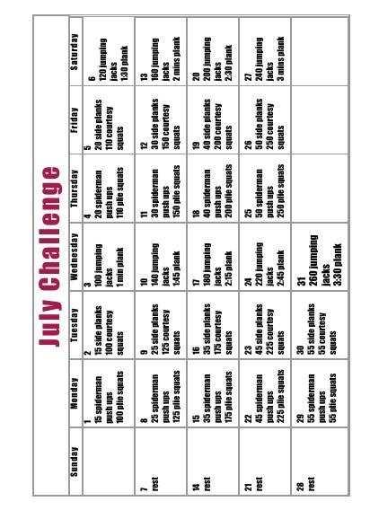 July exercise challenge