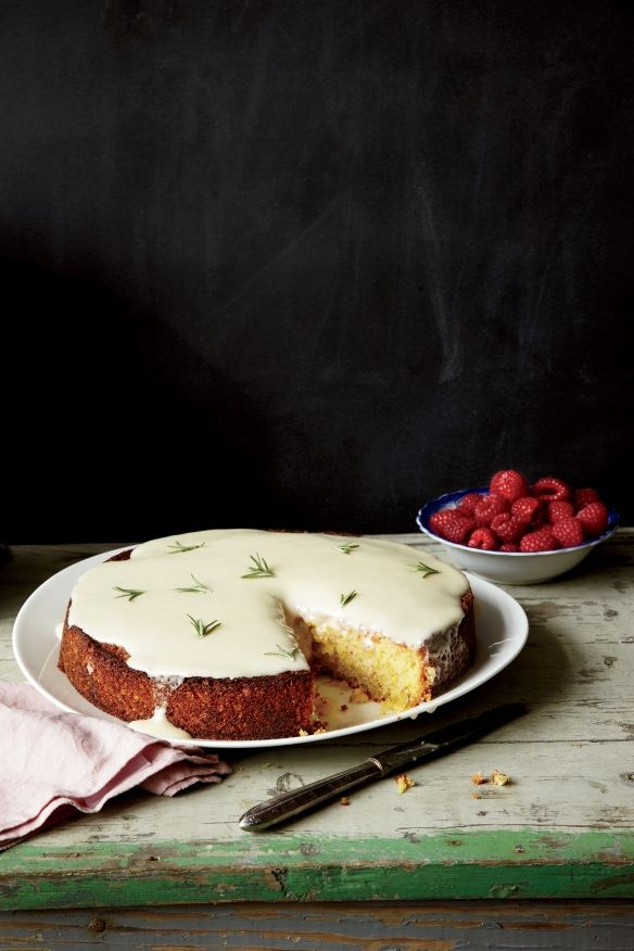 almond cake with lemon and creme fraiche glaze // recipe here: www.foodandwine.c...
