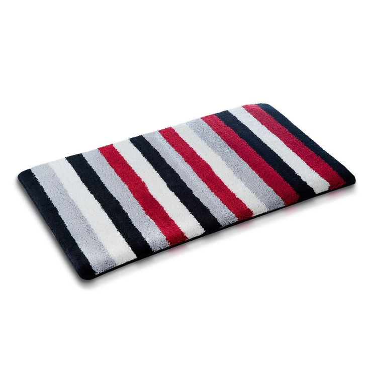 Fluffy Rugs The Striped Pattern Together With Trendy Color Blend Of Black Red