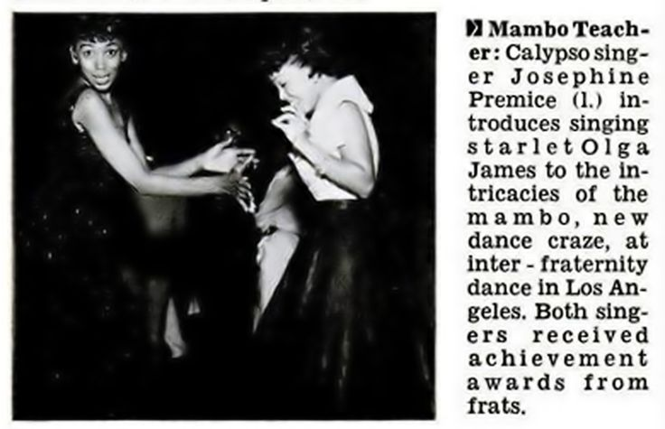 Josephine Premice Teaches Olga James The Mambo - Jet Magazine Jul 29, 1954
