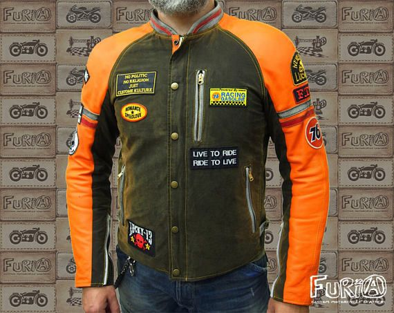 Motorcycle leather jacket, NEW. Handmade, limited edition. Size L (50-52). Material: 100% leather, textile. Exclusive design. Protection: elbows, shoulders, back. We can make any size you want.