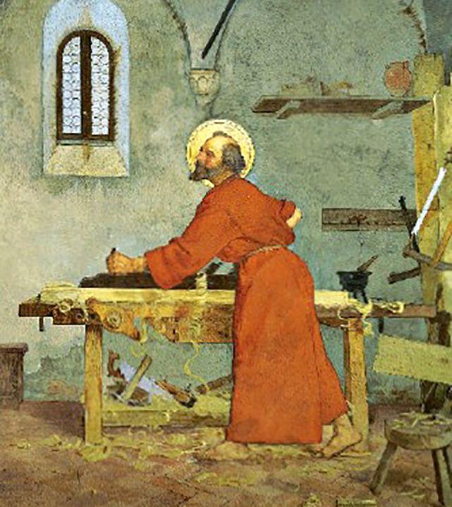 Modesto Faustini - San Giuseppe falegname al tavolo di lavoro, particolare della Santa Famiglia, Loreto, Cappella di San Giuseppe o Spagnola, 1890