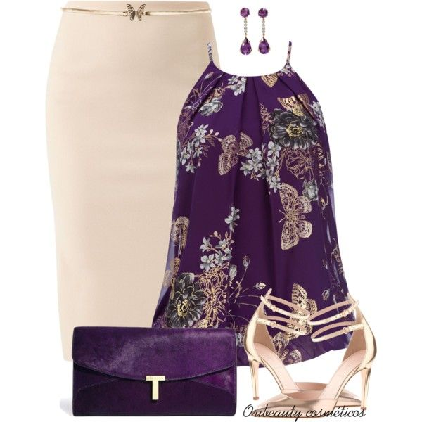 Purple Top by oribeauty-cosmeticos on Polyvore featuring beauty, Warehouse, Ted Baker, Wallis and J.Crew