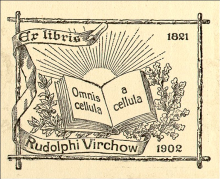 """Exlibris, Rudolf Virchow,""""omni cellula a cellula""""; Every cell originates from another cell"""