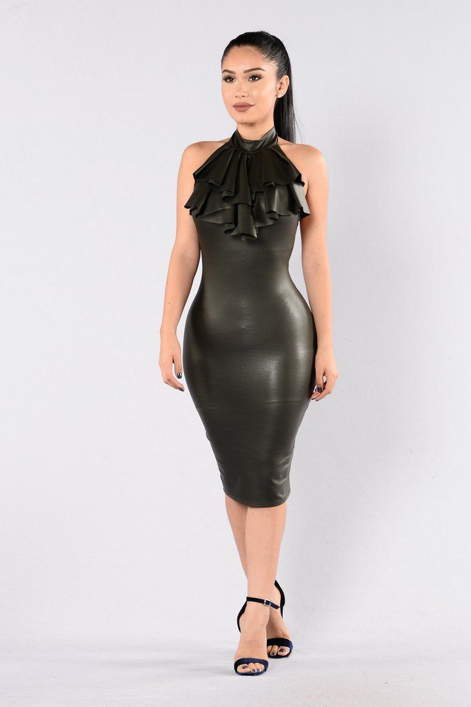 - Available in Olive - Vegan Leather - Midi Length - Fitted - Mock Neck - Open Back - Front Ruffle Design - Made in USA - 95% Polyester 5% Spandex