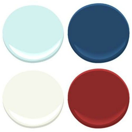 GREAT COLOR SCHEME  BENJAMIN MOORE: ICEY MOON DROP, DOWN POUR BLUE, CALIENTE, CLOUD WHITE