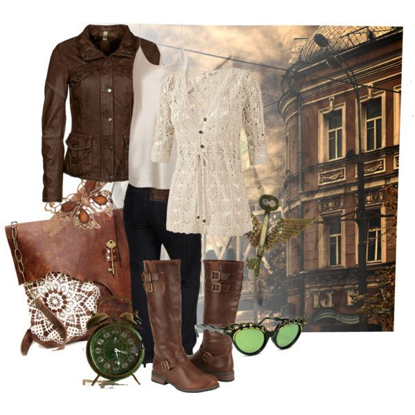 Casual steampunk by jaliceaz on Polyvore featuring Fat Face, Milestone, Jag Jeans, T By Alexander Wang and 1928