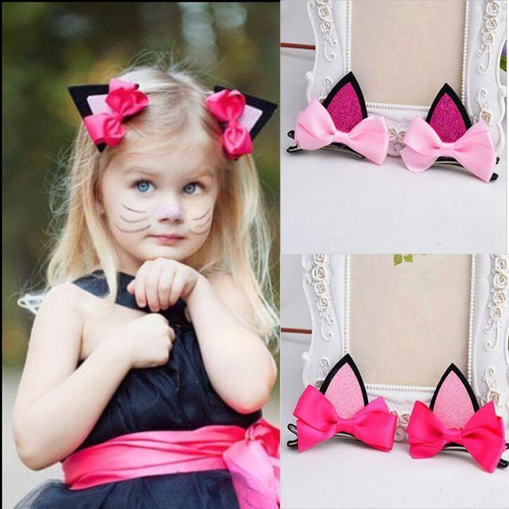 2 unids/lote niños bebés niñas accesorios para el cabello horquillas de clip de orejas de gato horquilla barrettes de headwear de la flor