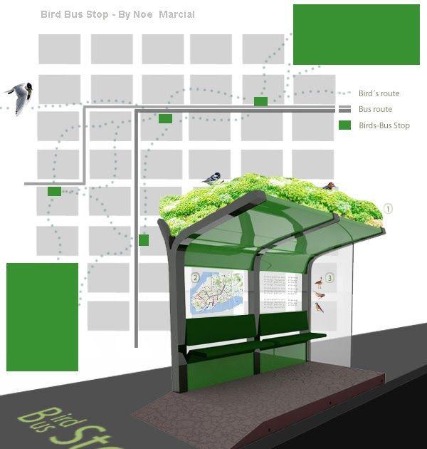 Concepto: Bird Bus stop es un diseño de una parada de colectivo que contiene en su techo una selección de plantas locales. Estas no solo ap...