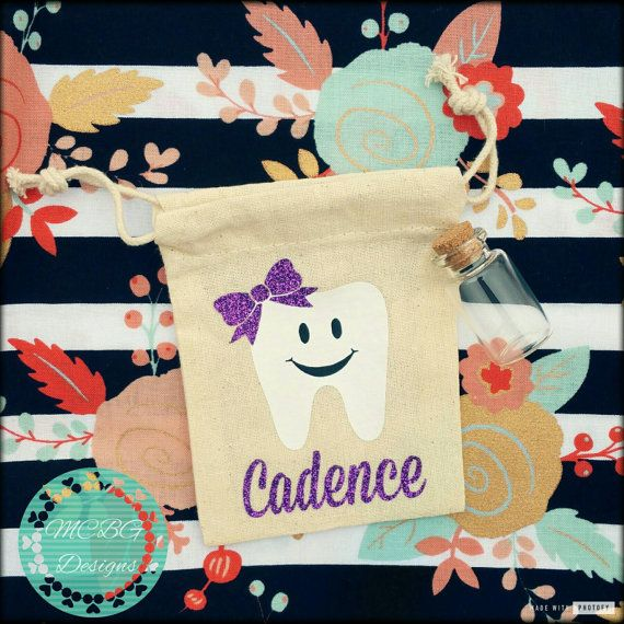 These adorable tooth fairy pouches are perfect to make a special tradition with your little one every time the tooth fairy comes! These are Personalized with your childs name and favorite color! They come with a little vial for your child to place their tooth in also! Bags are 3x4 muslin