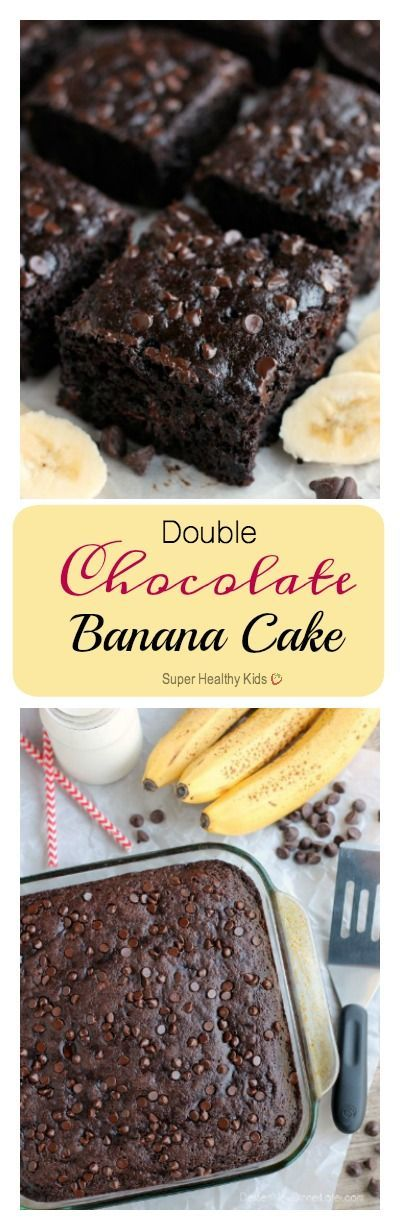 Double Chocolate Banana Cake. This lightened up chocolate cake has no oil, uses bananas and applesauce to keep it moist, and has just the right amount of chocolate to make it feel like an indulgent treat. No frosting required! http://www.superhealthykids.com/double-chocolate-banana-cake/