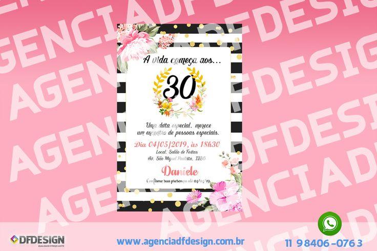Convite de Aniversário 30 anos Digital JPEG/PDF para enviar por e-mail, Whatsapp e Facebook. Arte no formato digital JPEG/PDF para impressão direto na gráfica, fotóptica ou em casa e para enviar por e-mail Facebook e Whatsapp. A arte é enviada via e-mail após confirmação do pagamento.