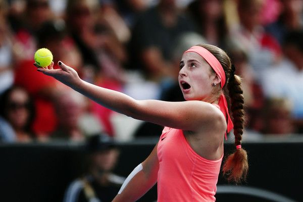 Jelena Ostapenko Photos Photos - Jelena Ostapenko of Latvia serves in her semi final match against Lauren Davis of USA on day five of the ASB Classic on January 6, 2017 in Auckland, New Zealand. - ASB Classic - Day 5
