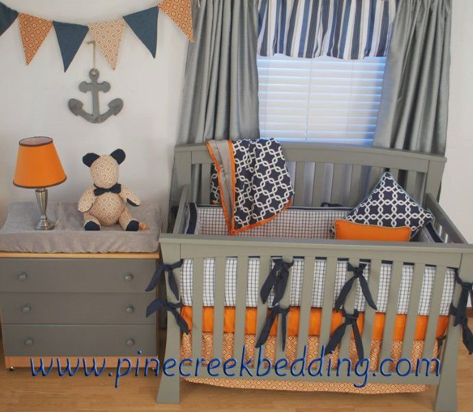Navy Orange and Grey crib bedding in a nautical nursery ...