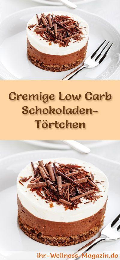 Rezept für cremige Low Carb Schokoladen-Törtchen: Der kohlenhydratarme Kühlschrankkuchen wird ohne Zucker und Getreidemehl zubereitet. Er ist kalorienreduziert, ...