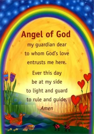 Angel of God - Prayer Poster £3.91 + VAT = £4.69 - or as part of a set of four posters: Our Father, Hail Mary, Glory Be, and Angel of God - £13.90 + VAT = £16.68. Size A3, laminated. Prayer card size also available.