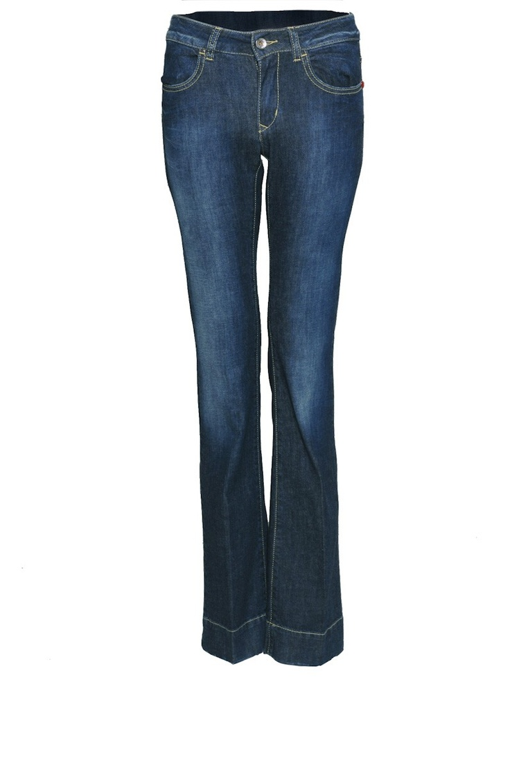 Denim blue, boot cut jeans with a faded waist band, belt loops and a button  and zip waist fastening. With two front and back pockets with yellow stitch  ...