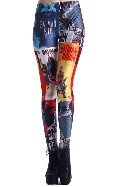 Comic Super Hero Print Leggings Mobile Site