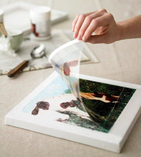 How to transfer photos onto a canvas - cool!