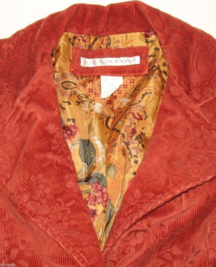 Bright orange corduroy blazer or jacket by Coast to Coast. Available in women's size medium or 10/12 on eBay for $29.95 with FREE shipping.