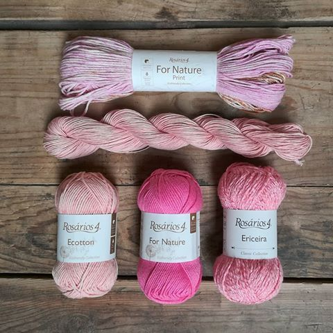 If you love the colour pink you will love these yarns! 💞  For Nature Print, Alfama, Ecotton Ecológico, For Nature and Ericeira.   #Rosários4 #rosarios4 #knittingwithrosarios4 #tricotarcomrosarios4 #tricot #knittingyarn #knitting #fornature #cotton #algodao #crochet #pink