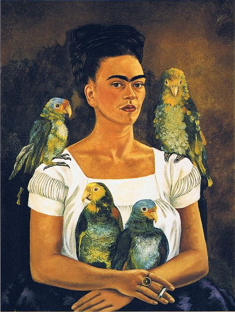 Frida Kahlo - Me and my parrots, 1941 I like the way the parrots have been coloured