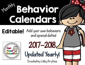 Looking for a quick and easy way to track behavior in your classroom? These monthly behavior calendars are easy to use and will help keep your student's behavior on track!