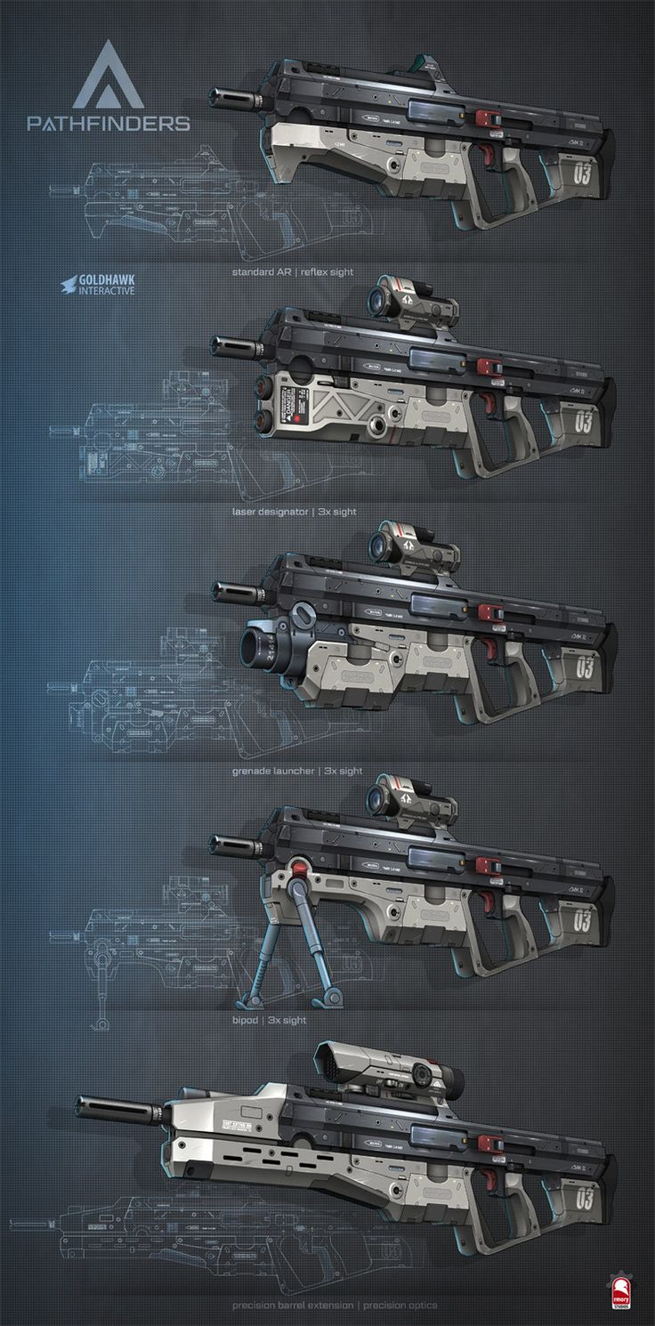 pathfinders assault rifle, Kris Thaler on ArtStation at https://www.artstation.com/artwork/PGXn8