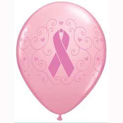 Breast Cancer Awareness Pink Ribbon Latex Balloons 28cm