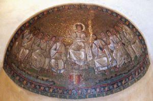 NOME:Cristo con gli Apostoli.Fa parte della Cappella di Sant'Aquilino.DATAZIONE:IV sec d.C(arte cristiana).TECNICA:mosaico.Al centro Cristo con gli Apostoli in cui in un mano tiene i rotoli delle leggi e con l'altra benedice.Gli apostoli indossano abiti tipici romani;è presente anche  un fiume che simboleggia il Paradiso.Lo sfondo oro(usanza cristiana) raffigura la presenza di Dio.Il mosaico è comuqnue realista.COLLOCAZIONE:Chiesa di San Lorenzo Maggiore,Milano