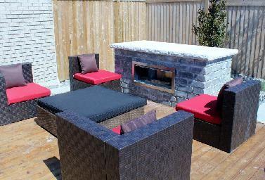 Modern landscape designs. Wood deck, modular patio furniture, outdoor stone fireplace. Completed by Leaf Garden Design Inc.  | westview