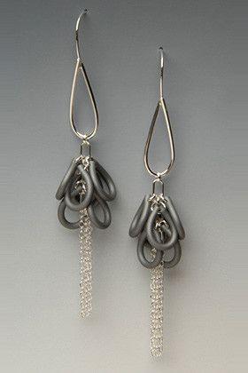 Glimmer Shag Silver and Neoprene Rubber Earrings