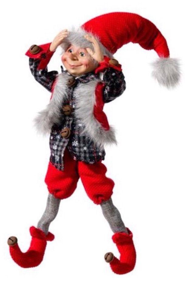 """CHRISTMAS ELF 'GALAN' 16"""" Raz Like Santa Posable Shelf Sitter Elves"""
