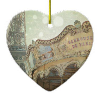 Vintage carousel in Paris with Eiffel Tower Ceramic Ornament - retro gifts style cyo diy special idea
