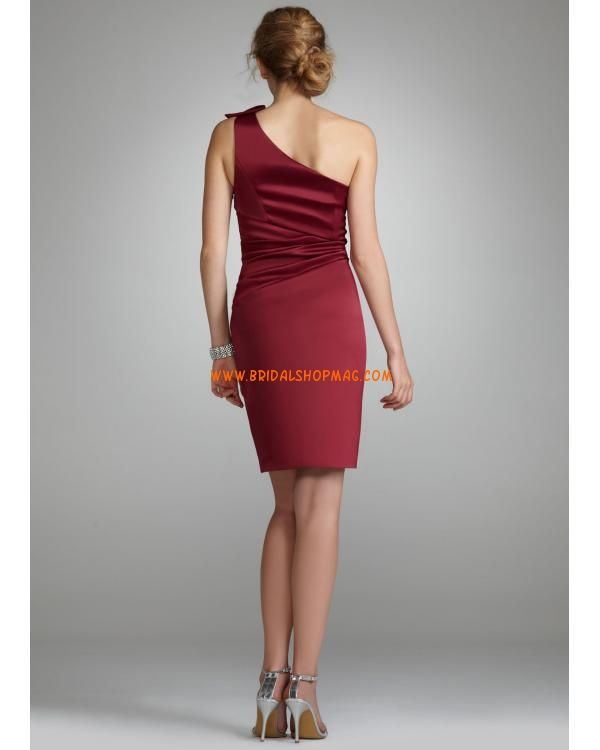 Satin One Shoulder Dress with Beading
