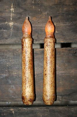 "TWO Primitive Ivory/Cinnamon 6"" TIMER Battery Operated LED Taper Candles"