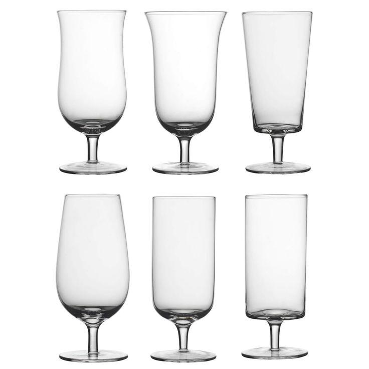 Set da 6 bicchieri da birrain vetro soffiato trasparente.