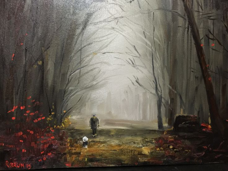 A foggy morning walk - oil painting private collection Rick Brun