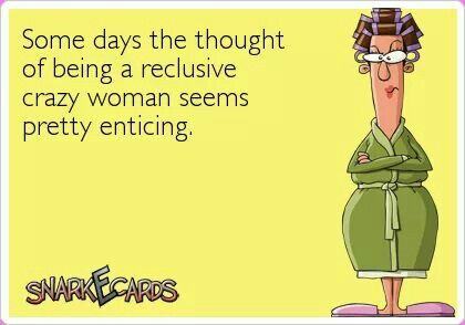 some days the thought of being a reclusive crazy woman seems pretty enticing.....
