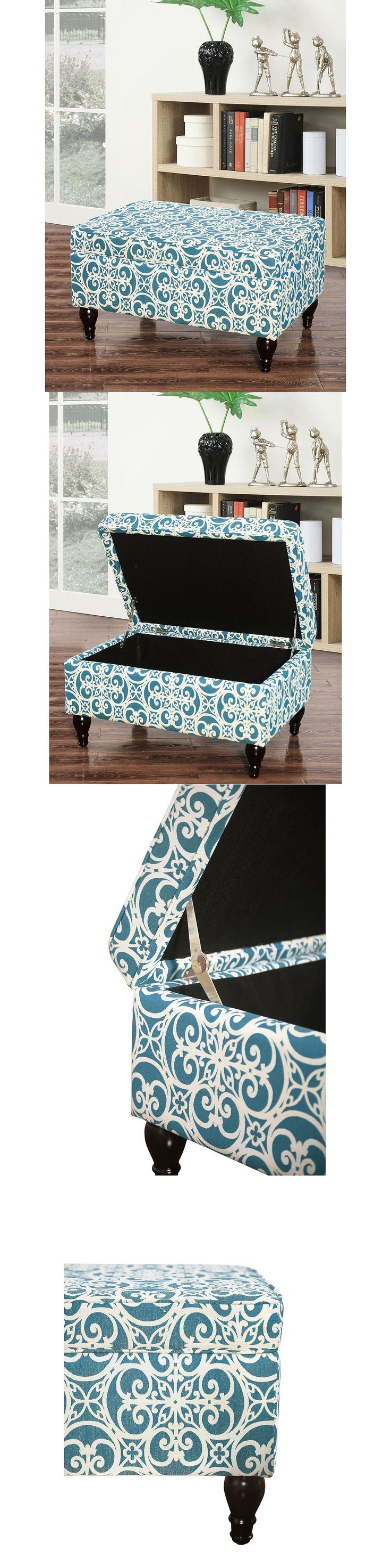 Ottomans Footstools and Poufs 20490: Paisley Storage Ottoman Grey Fabric Print Footstool Pouff Bench Seat Organizer -> BUY IT NOW ONLY: $79.99 on eBay!