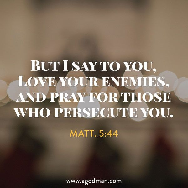 Matt. 5:44 But I say to you, Love your enemies, and pray for those who persecute you. #Bible #Verse #Scripture quoted at www.agodman.com