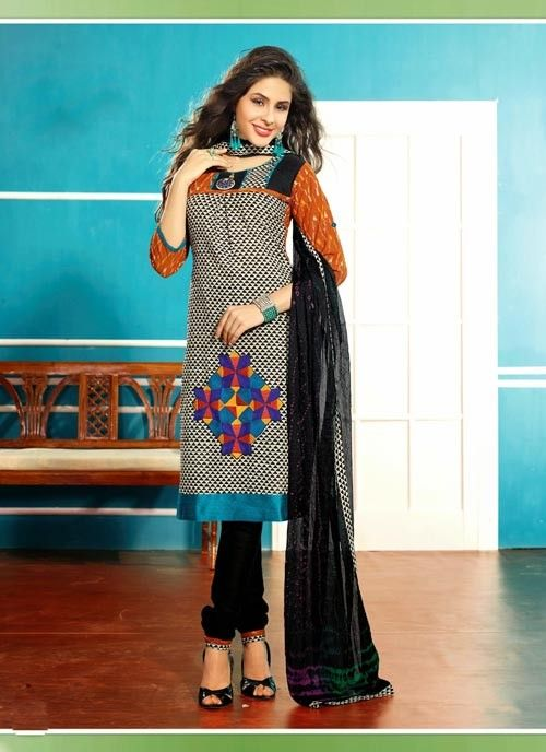 Mesmerizing Black & Beige Brown Based #Salwar #Suit With Resham Work #churidarsuits #ethnicwear #womenapparel #womenfashion