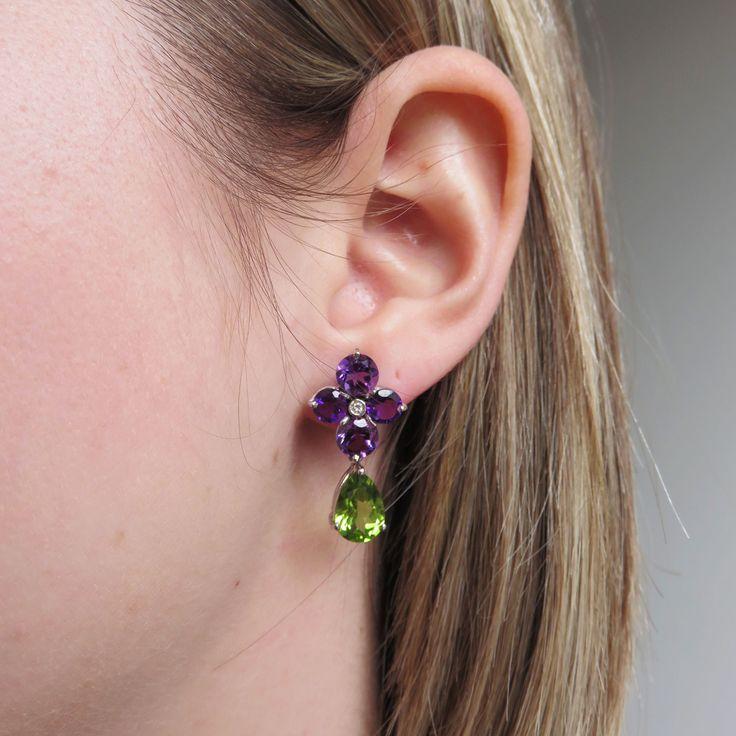 Amethyst Flower Earrings With Peridot Drops