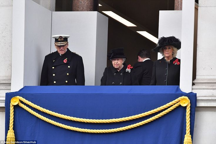 The Queen and Prince Philip were joined on the balcony by Camilla as she watched her husba...