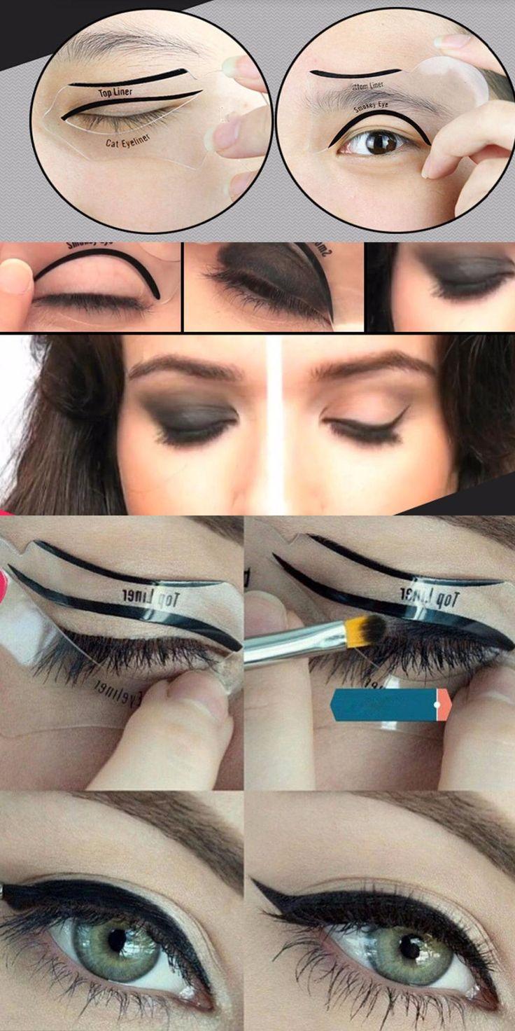 [Visit to Buy] New Guide Template Eye Makeup Eyeliner Stencils Smoky Quick Liner 10 in 1 Eyeliner Template Eyeliner Card Eyeliner Stencil #Advertisement