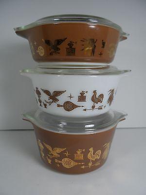 Vintage Pyrex Early American 3 Piece Bake, Serve, Store Bowl Set