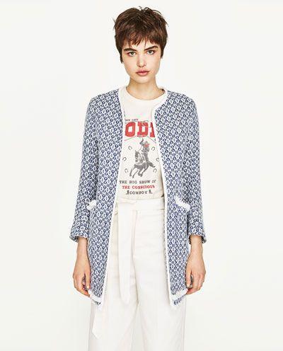 Image 6 of FRAYED PRINTED COAT from Zara