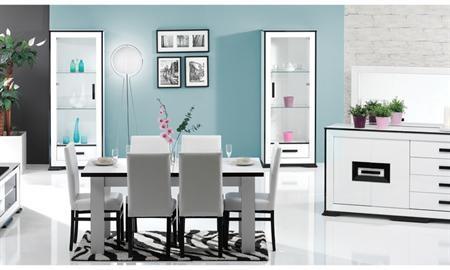 Pinto yemek odası takımı beyaz üzerine çekilen siyah çizgilerle kendisini göstermektedir.